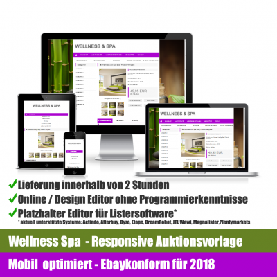 Wellness Spa Responsive Ebay Auktionsvorlage Mobil optimiert