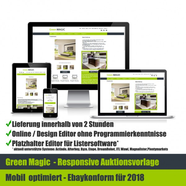 Green Magic Responsive Ebay Auktionsvorlage Mobil Optimiert